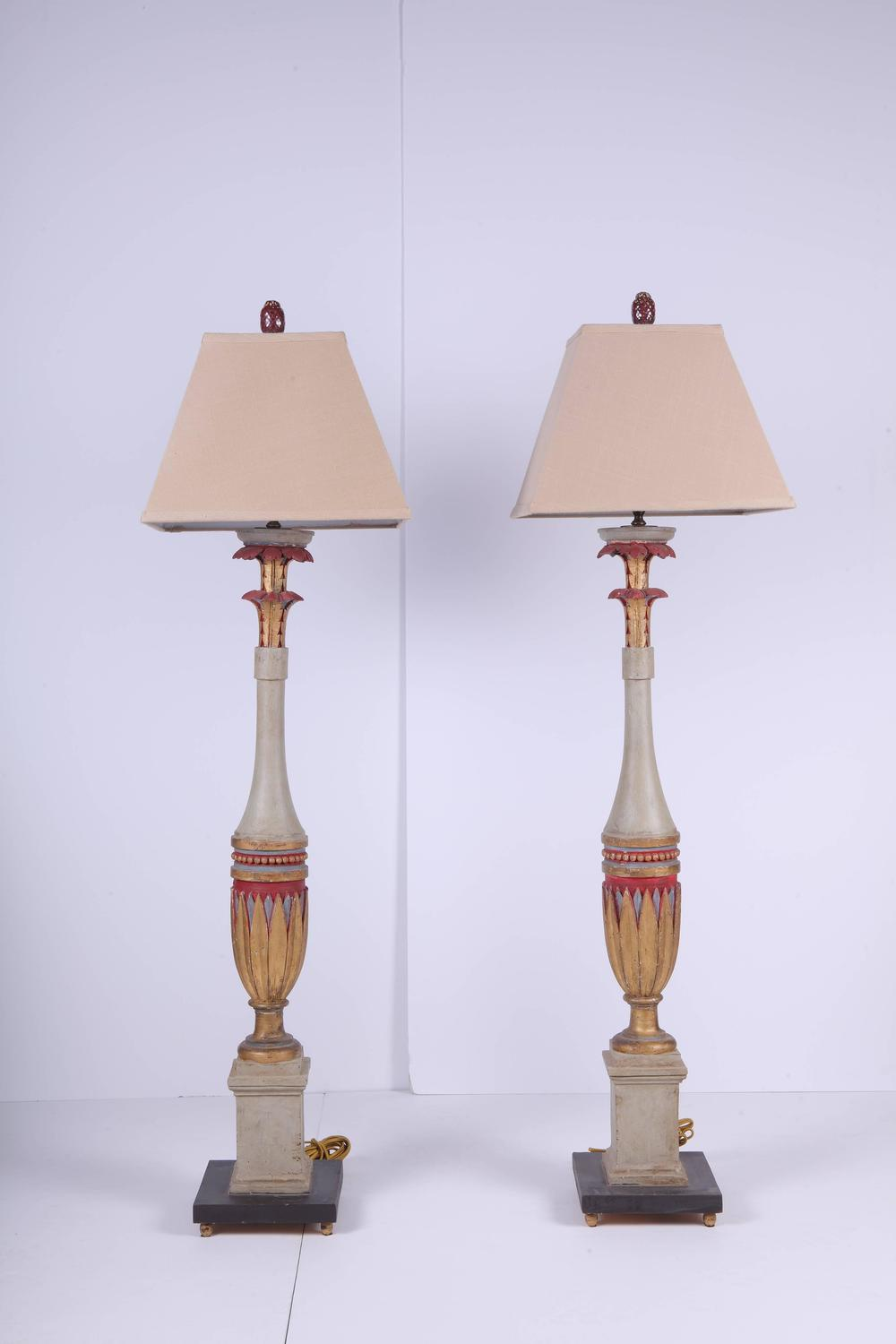 pair of tall carved art deco lamps for sale at 1stdibs. Black Bedroom Furniture Sets. Home Design Ideas