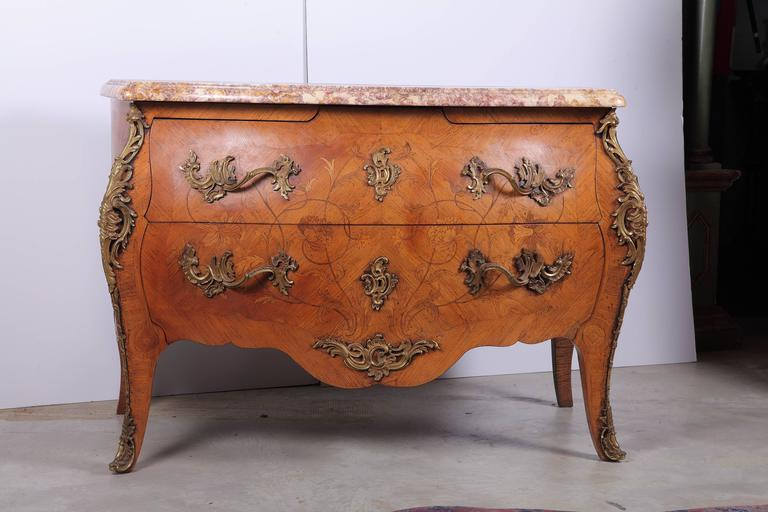 19th Century Louis XV Style Marquetry Commode Signed by J. B. Moreau 2