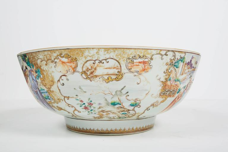 Hand-Painted Large 18th Century Chinese Export Punch Bowl For Sale