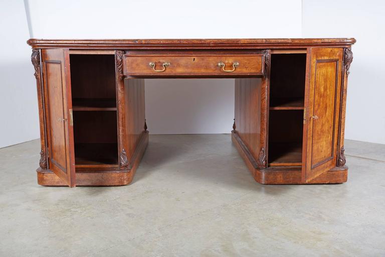 Large William IV Walnut Partners Desk For Sale 1