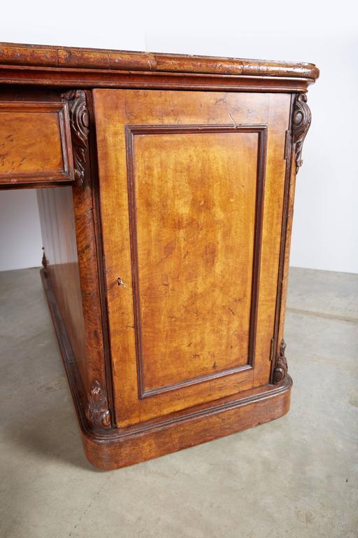 Brass Large William IV Walnut Partners Desk For Sale