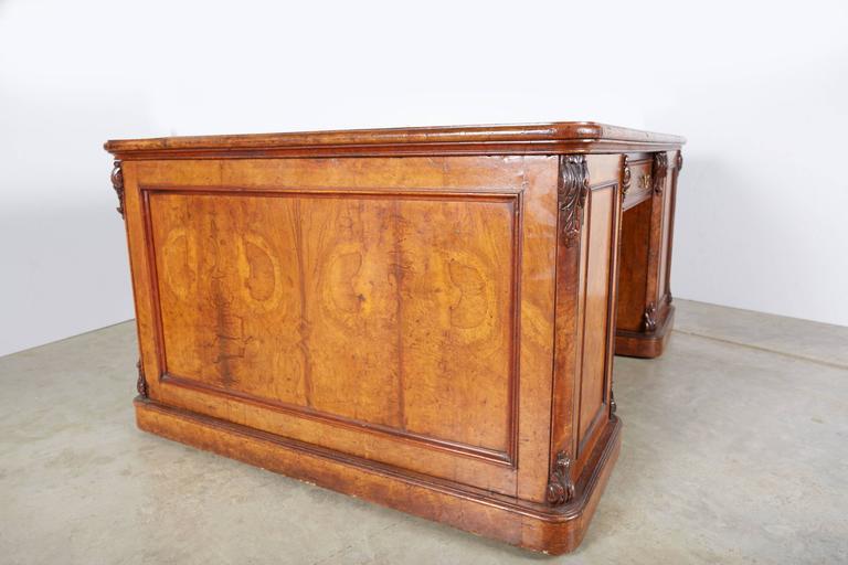English Large William IV Walnut Partners Desk For Sale