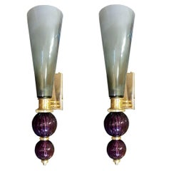 Large Pair of Gray and Violet Murano Glass Sconces by Cenedese, Italy, 1970