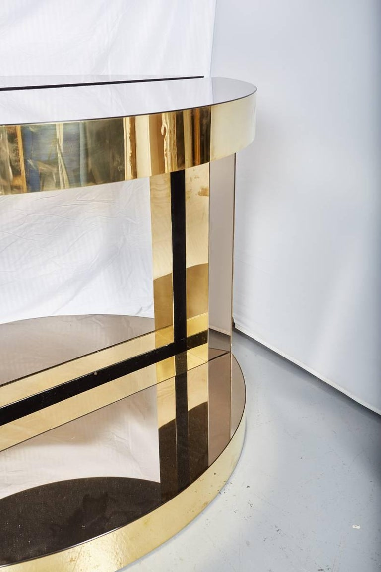 Hand-Crafted Pair of Midcentury Italian Brass and Mirrored Glass Demilune Consoles by Petti For Sale