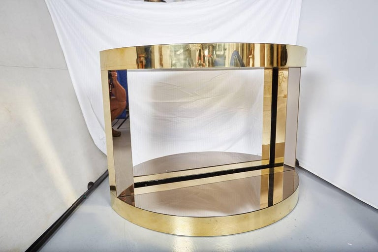 Pair of Midcentury Italian Brass and Mirrored Glass Demilune Consoles by Petti In Excellent Condition For Sale In Dallas, TX