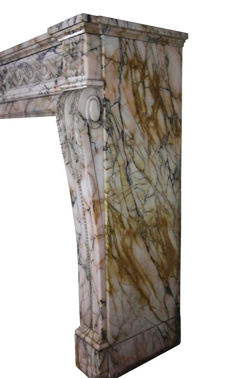 19th Century Louis XVI Style Marble Original Antique Fireplace Mantel For Sale 4