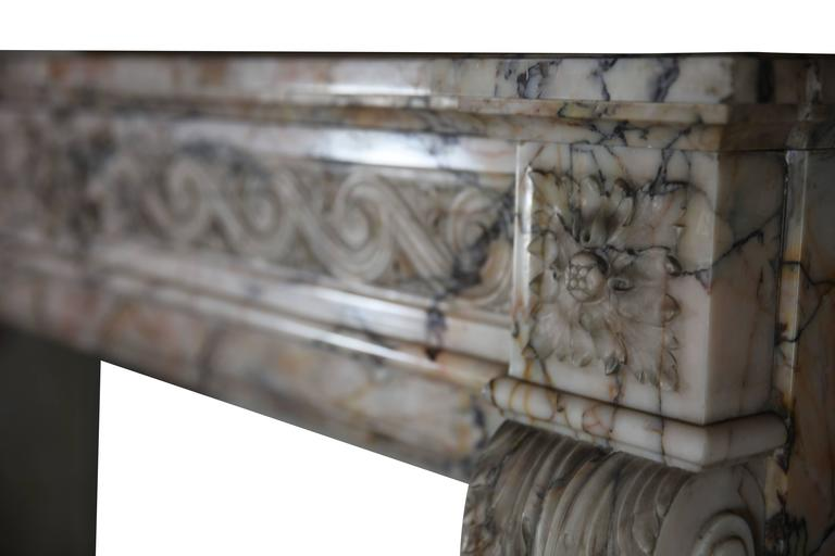 Carved 19th Century Louis XVI Style Marble Original Antique Fireplace Mantel For Sale
