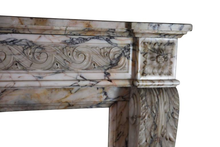 19th Century Louis XVI Style Marble Original Antique Fireplace Mantel In Excellent Condition For Sale In Beervelde, BE