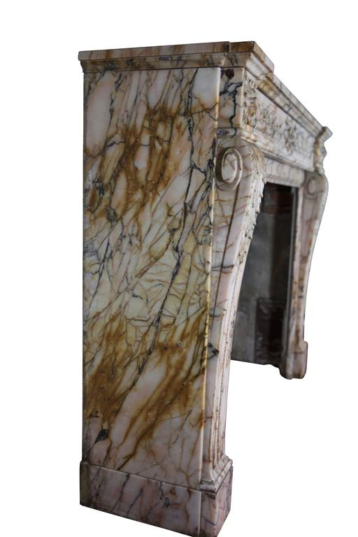 19th Century Louis XVI Style Marble Original Antique Fireplace Mantel For Sale 2