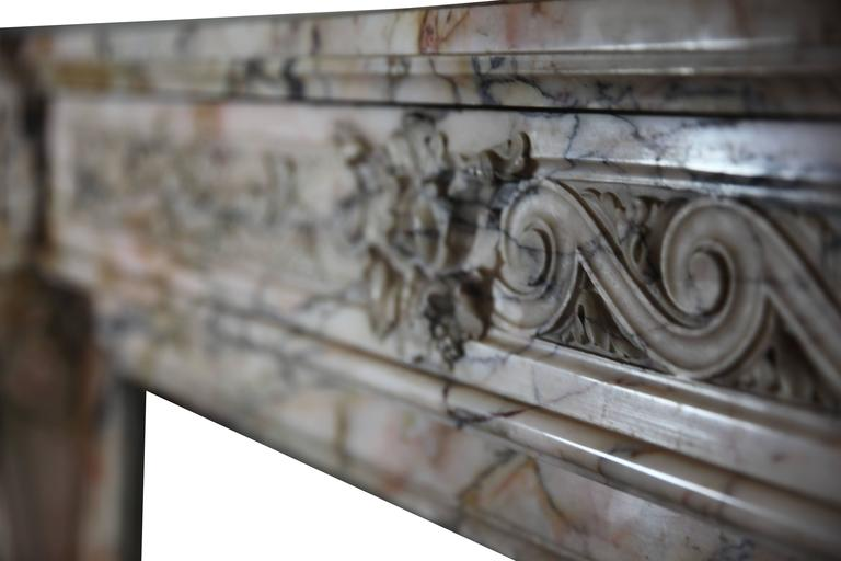 Belgian 19th Century Louis XVI Style Marble Original Antique Fireplace Mantel For Sale
