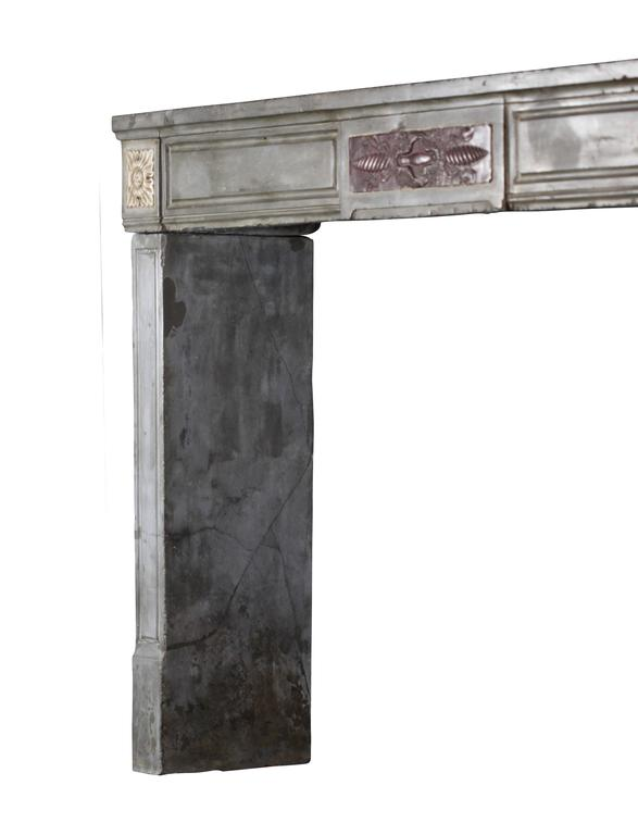 Carved 18th Century French Marble Stone Antique Fireplace Mantel For Sale