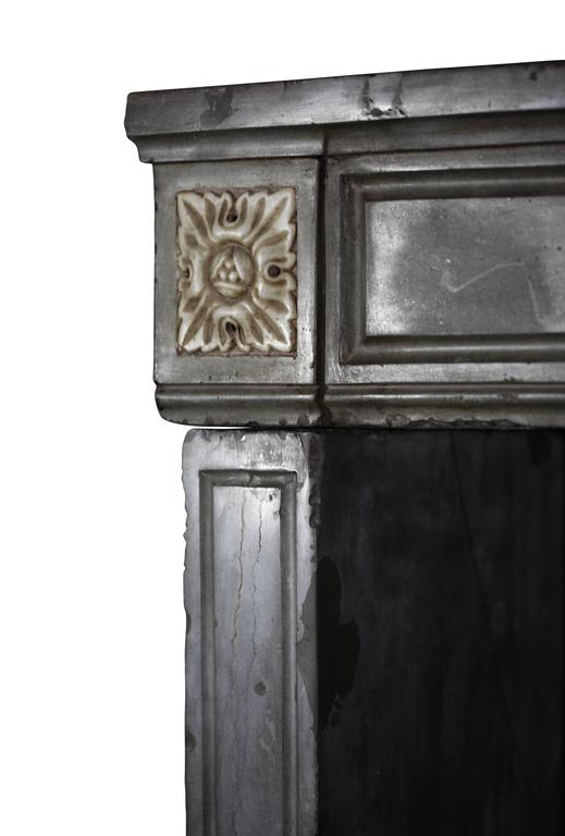 18th Century and Earlier 18th Century French Marble Stone Antique Fireplace Mantel For Sale