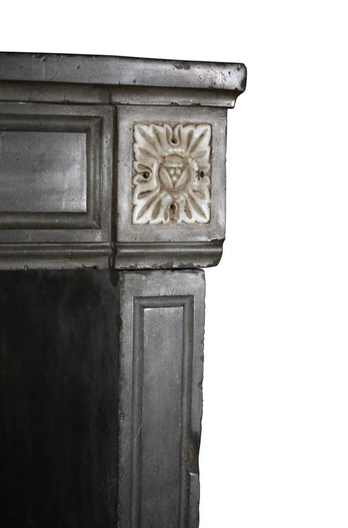 18th Century French Marble Stone Antique Fireplace Mantel For Sale 1