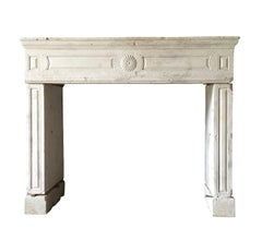 18th Century Antique French Country Fireplace Mantle in Limestone