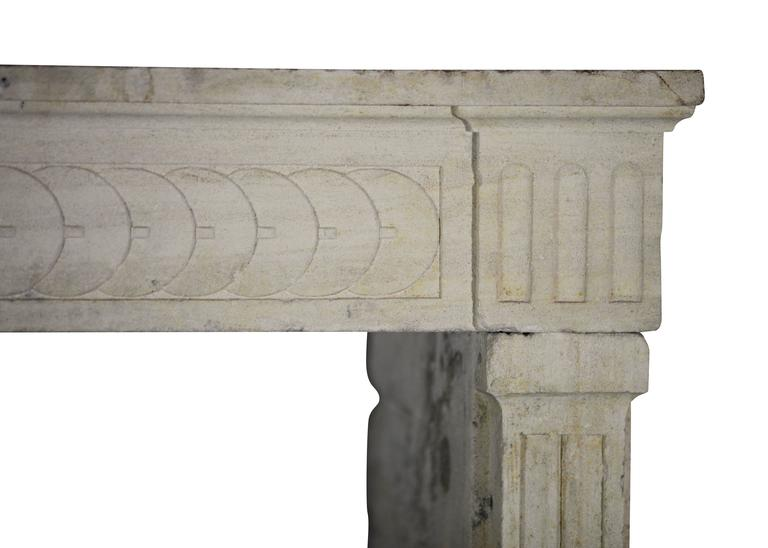 this 18th century antique fireplace mantel in limestone is no longer