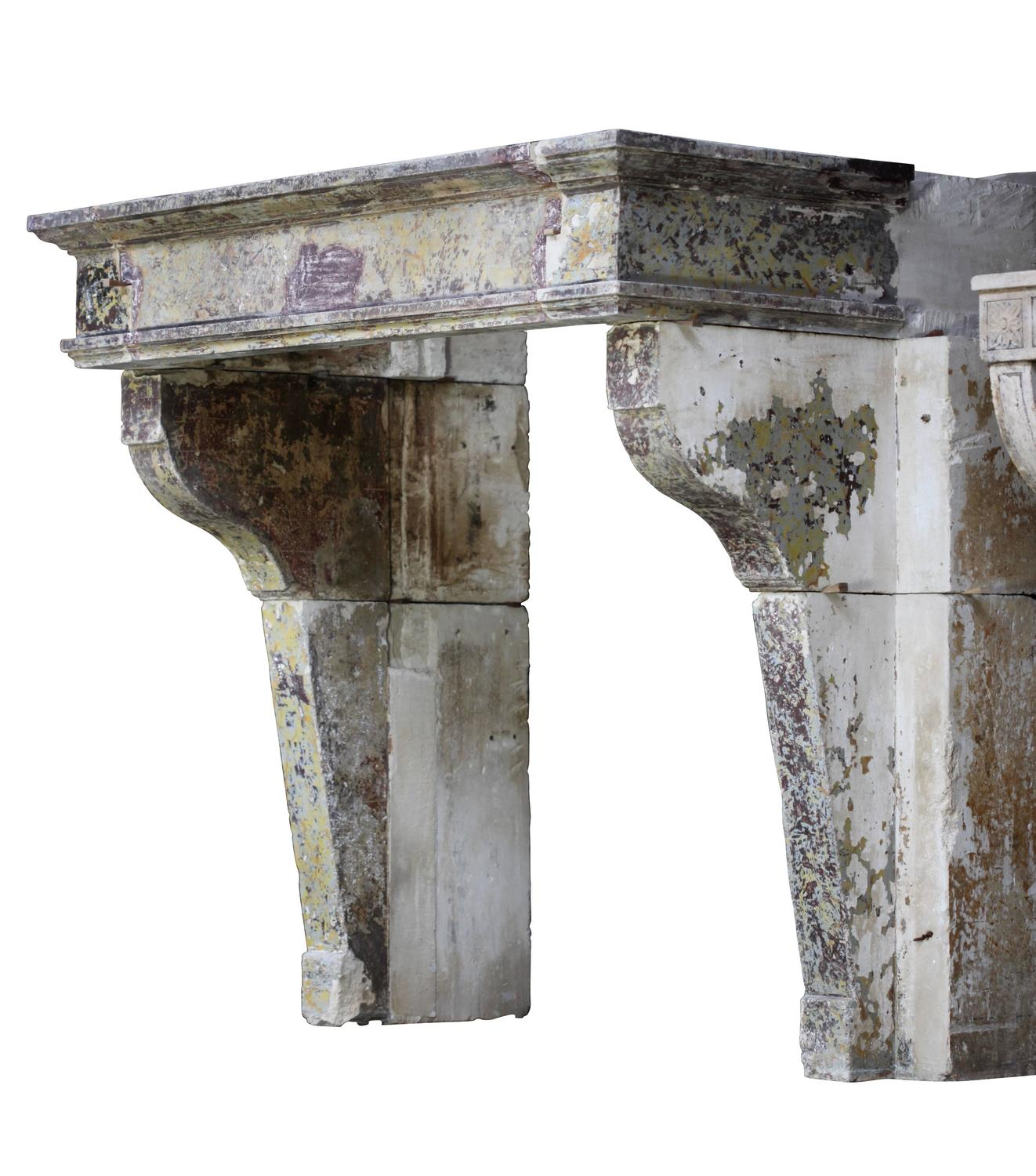 18th Century Limestone French Country Original Antique Fireplace Mantel At 1stdibs