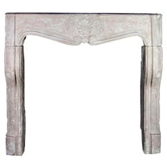 18th C. Regency Period Limestone Antique Fireplace Mantel Burgundy Hardstone