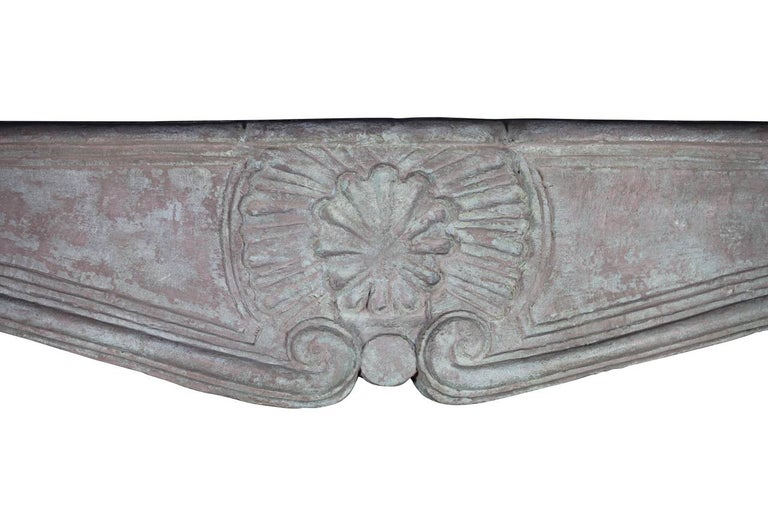 French 18th C. Regency Period Limestone Antique Fireplace Mantel Burgundy Hardstone For Sale