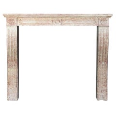 19th Century, French Hard Stone Louis XVI Style Antique Fireplace Mantel