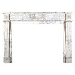 19th Century Blanc de Carrara Marble Antique Fireplace Mantel
