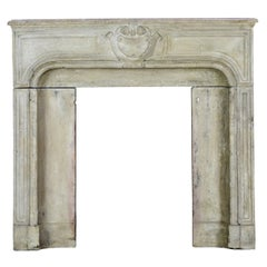 18th Century Small French Country Limestone Antique Fireplace Surround