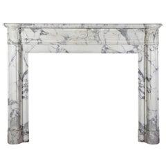 19. Jahrhundert Carrara weißen Marmor Antik Kamin-Kaminsimses, Stil Louis XVI