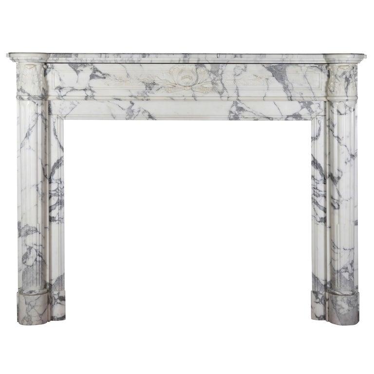 19th Century Carrara White Marble Antique Fireplace Mantel, Louis XVI Style For Sale