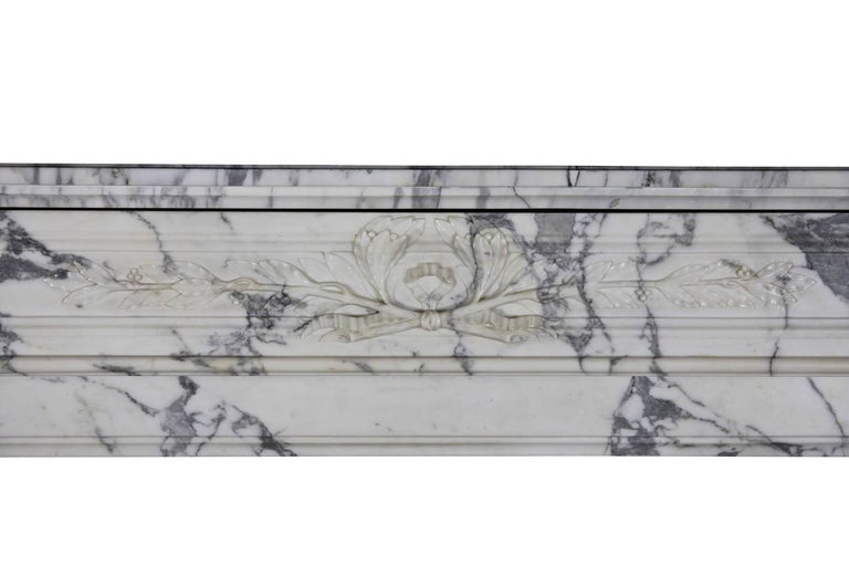 French 19th Century Carrara White Marble Antique Fireplace Mantel, Louis XVI Style For Sale