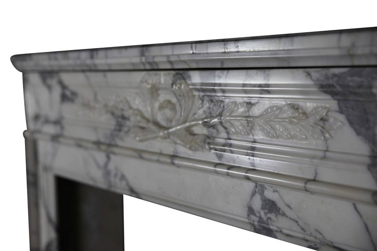 19th Century Carrara White Marble Antique Fireplace Mantel, Louis XVI Style In Good Condition For Sale In Beervelde, BE