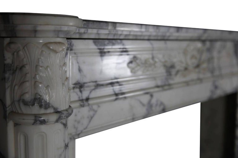19th Century Carrara White Marble Antique Fireplace Mantel, Louis XVI Style For Sale 1