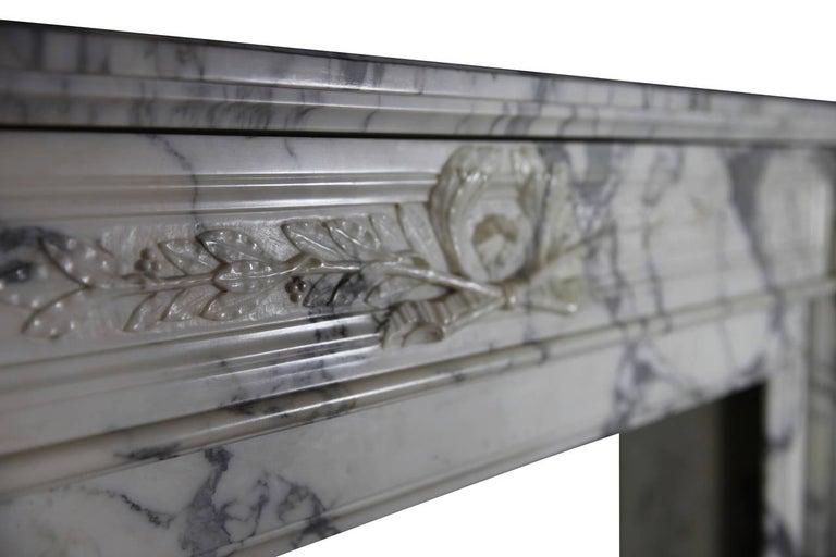 19th Century Carrara White Marble Antique Fireplace Mantel, Louis XVI Style For Sale 2