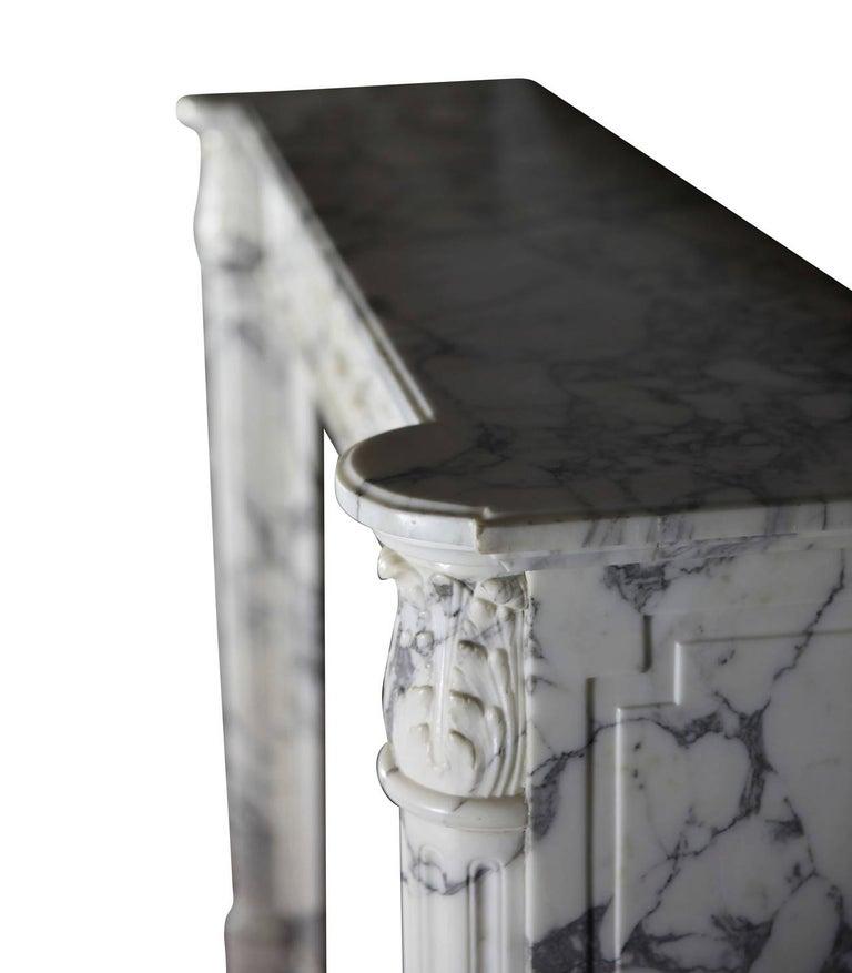 19th Century Carrara White Marble Antique Fireplace Mantel, Louis XVI Style For Sale 3