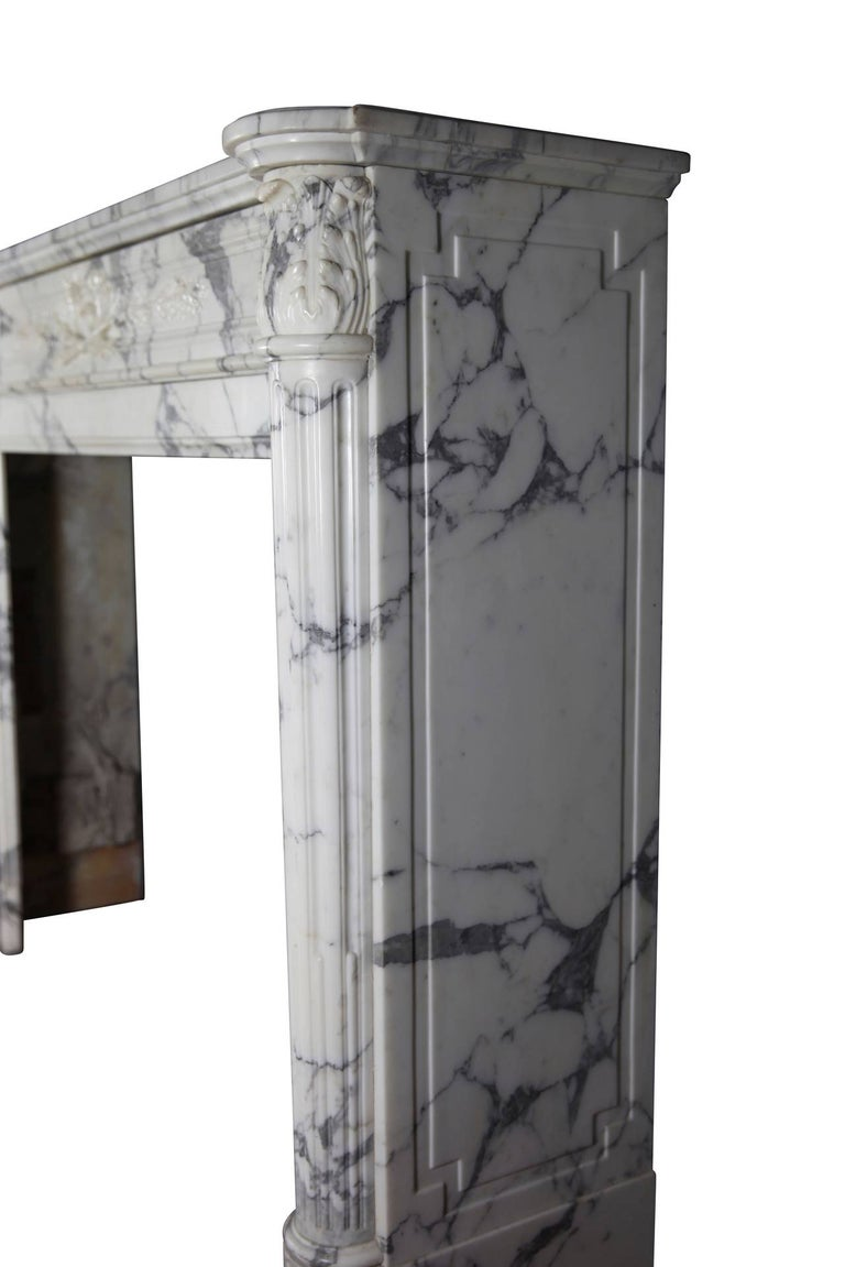 19th Century Carrara White Marble Antique Fireplace Mantel, Louis XVI Style For Sale 4