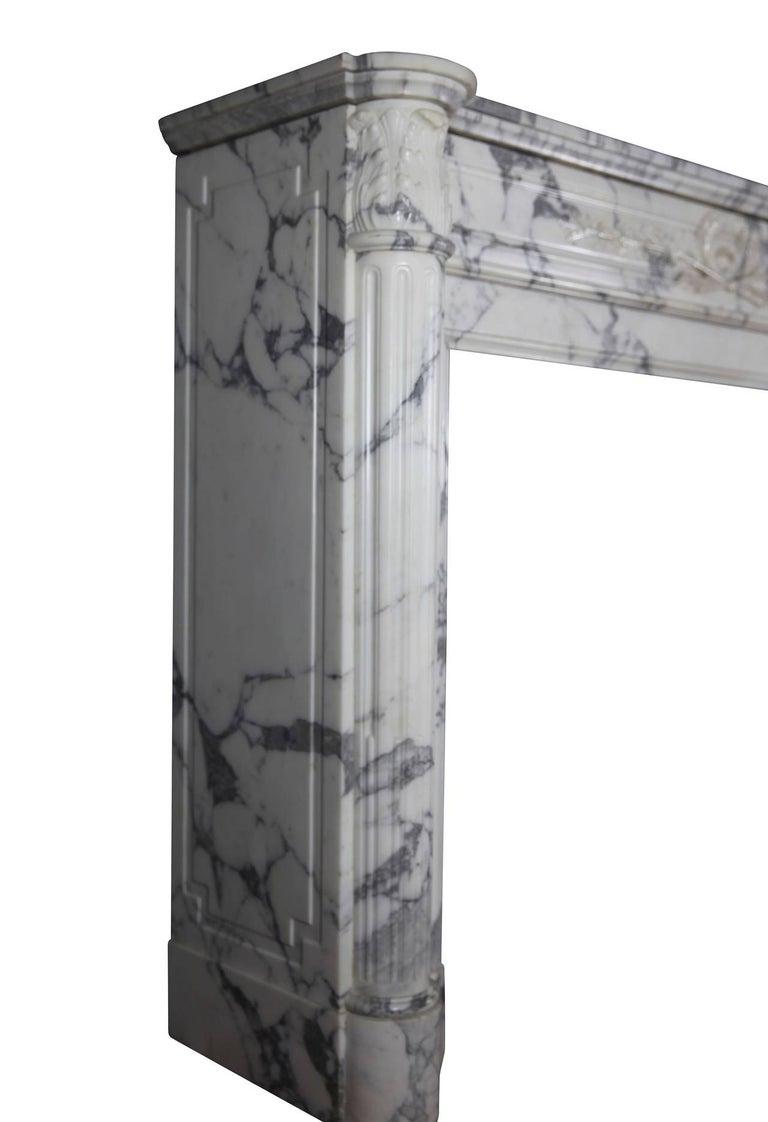 19th Century Carrara White Marble Antique Fireplace Mantel, Louis XVI Style For Sale 5
