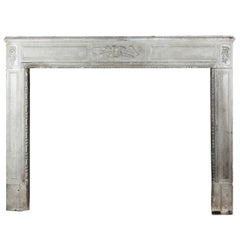 18th Century Original Rustic French Limestone Antique Fireplace Mantel