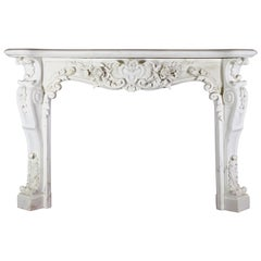 19th Century White Statuary Antique Fireplace Mantel Marble with Rose Flowers