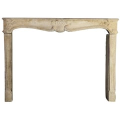 18th Century French Classic Country Antique Fireplace Mantle in Limestone