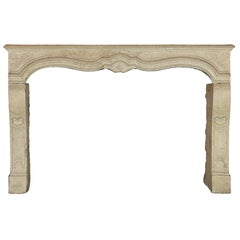 18th Century French Country Limestone Antique Fireplace Mantel