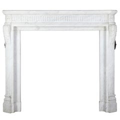 Antique French Classic Fireplace Mantel in Carrara Marble
