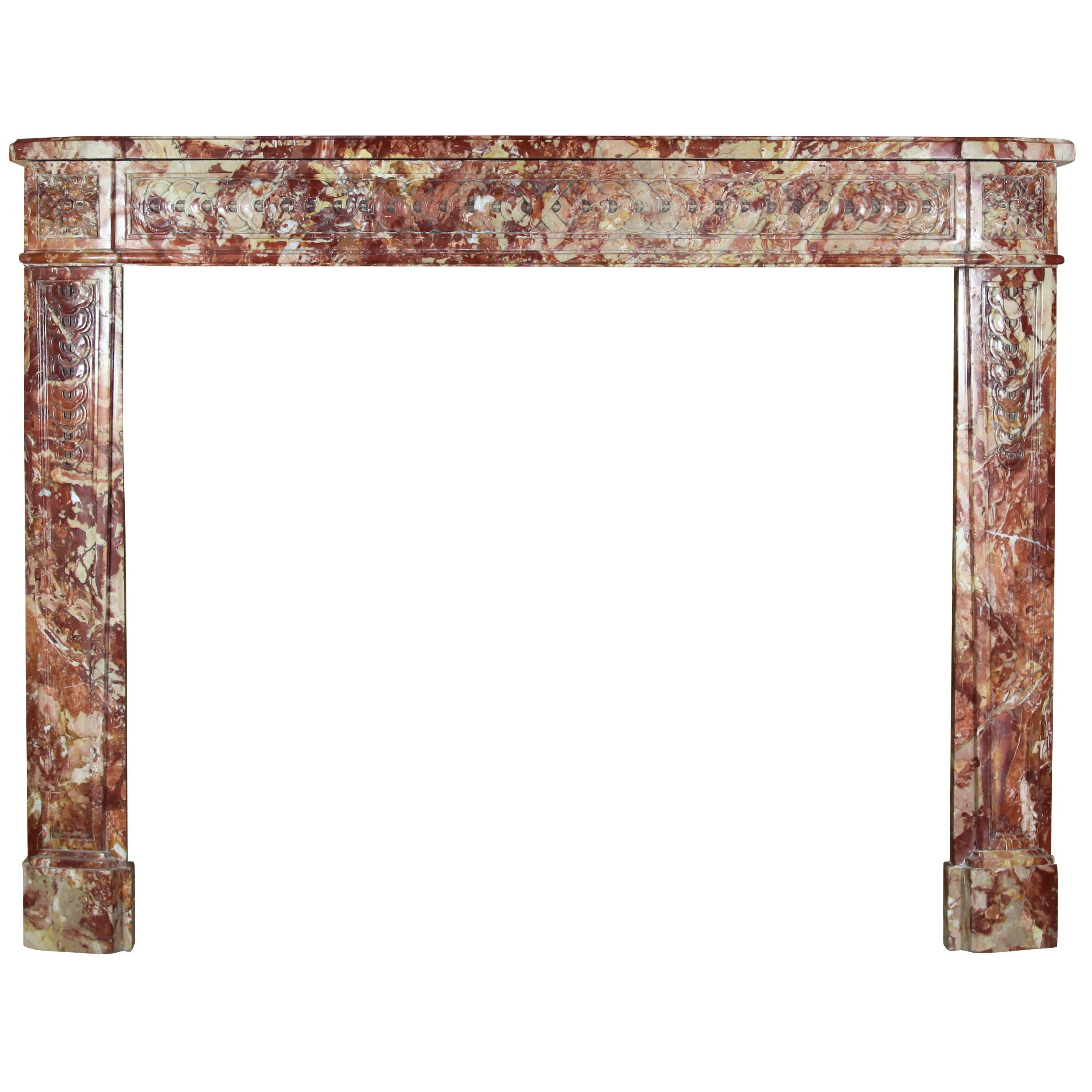 18th Century Fine French Antique Fireplace in Opulent Marble
