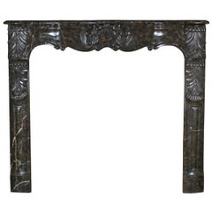 Beautiful Belgian Antique Fireplace Mantel in Marble with Special Fronton