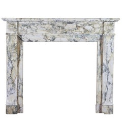 19th Century French Original Antique Fireplace in Marble