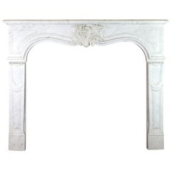 19th Century Regency Style White Carrara Marble Antique Fireplace Surround