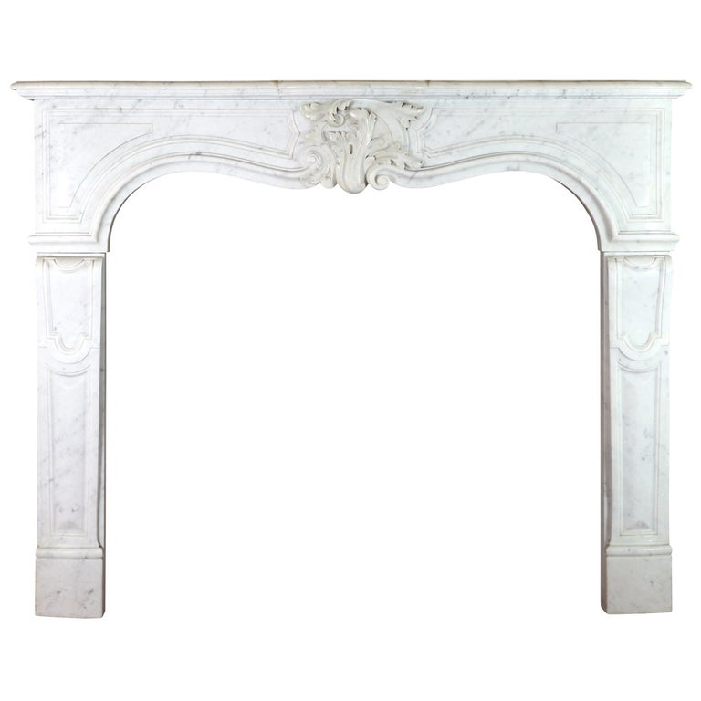 19th Century Regency Style White Carrara Marble Antique Fireplace Surround For Sale