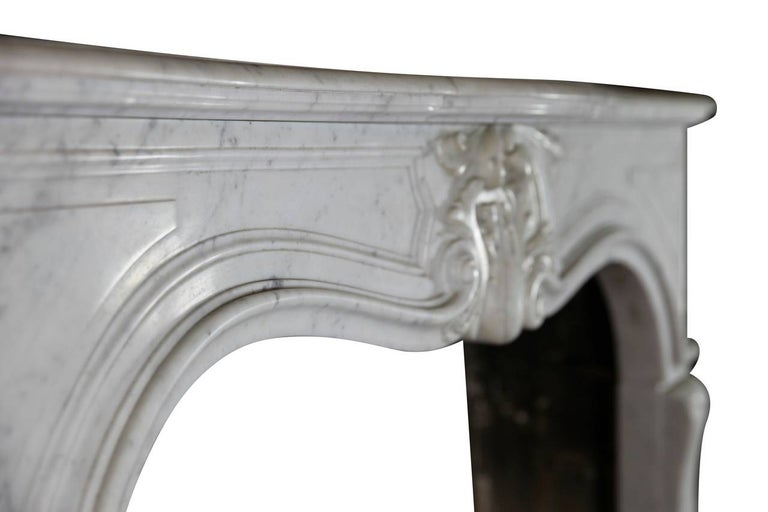 Carved 19th Century Regency Style White Carrara Marble Antique Fireplace Surround For Sale