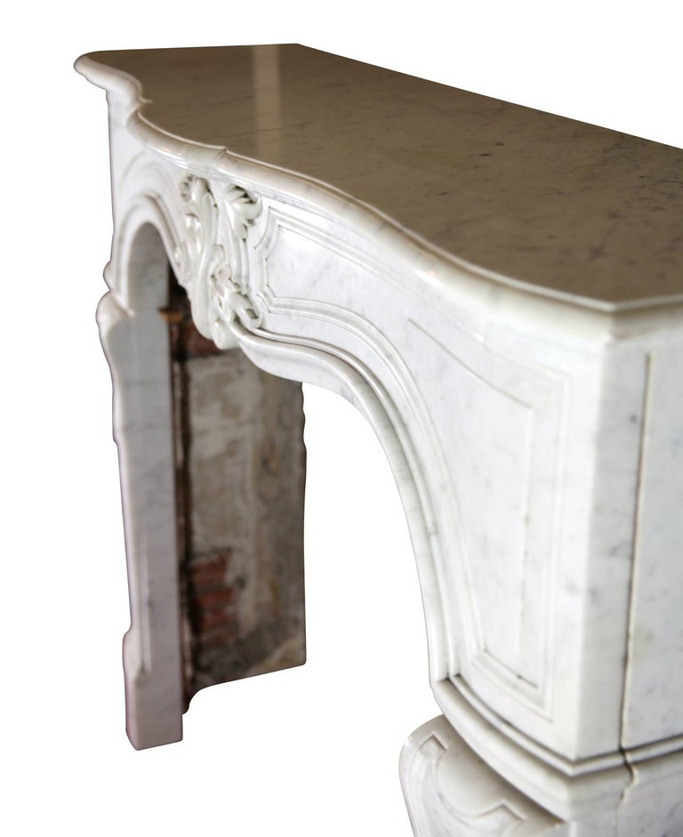 19th Century Regency Style White Carrara Marble Antique Fireplace Surround For Sale 1