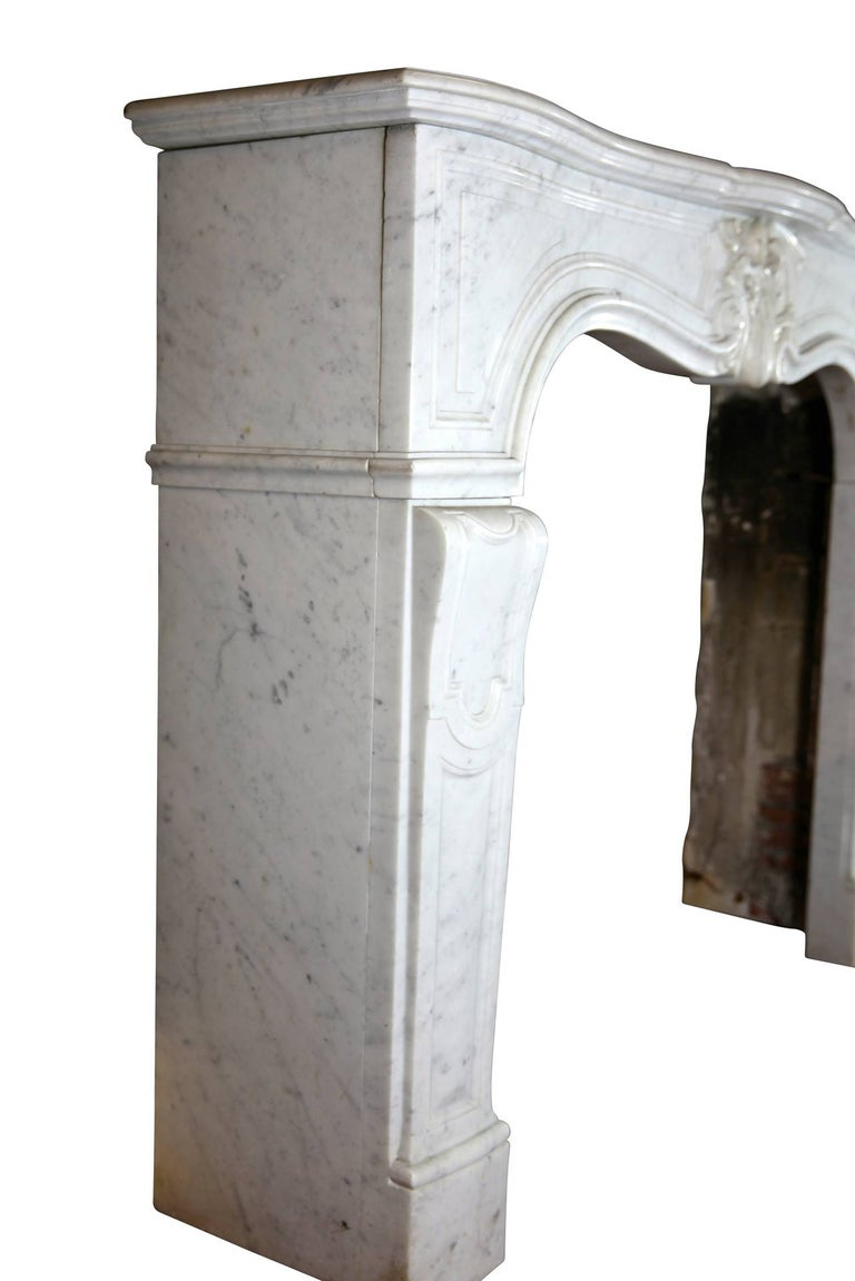 19th Century Regency Style White Carrara Marble Antique Fireplace Surround For Sale 2