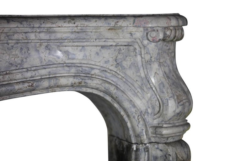 French 18th Century Fine European Vintage Marble Hard Stone Antique Fireplace Mantel  For Sale