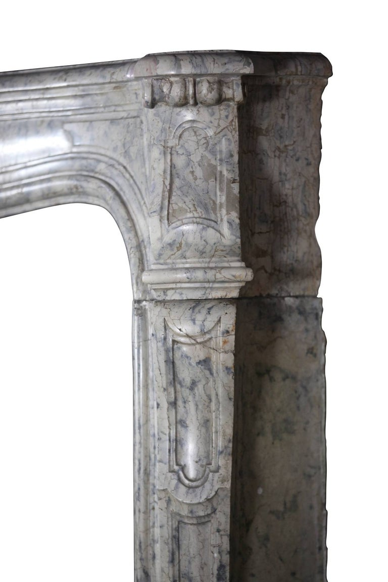 Carved 18th Century Fine European Vintage Marble Hard Stone Antique Fireplace Mantel  For Sale