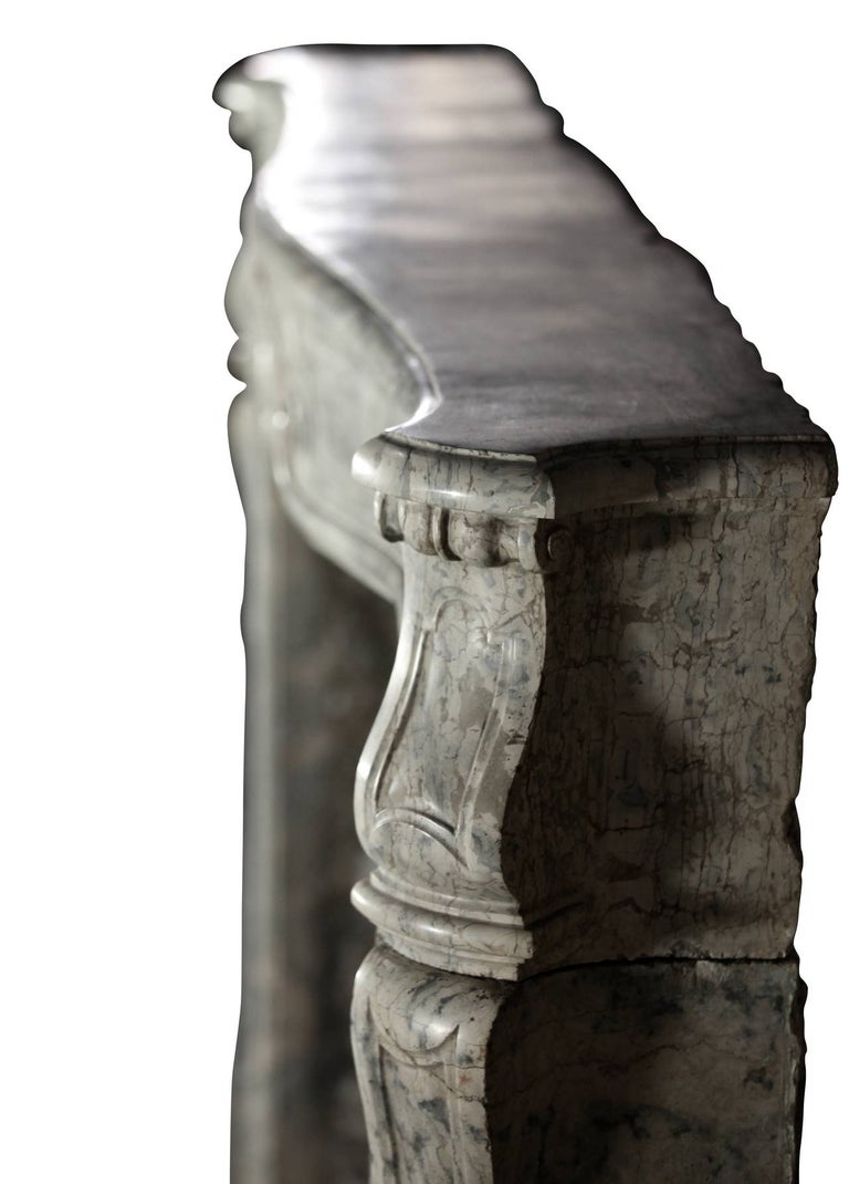 18th Century Fine European Vintage Marble Hard Stone Antique Fireplace Mantel  For Sale 3